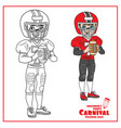 cute boy in an american football suit with a ball vector image vector image