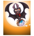 Cute Cartoon Halloween bat flying vector image vector image