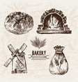 digital detailed line art bakery vector image vector image