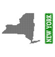 dotted map of new york state and grunge rectangle vector image vector image