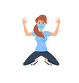exercising young woman wearing a face mask vector image vector image
