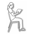 female student sitting on a chair with a tablet vector image vector image