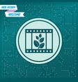 film icon on a green background with arrows in vector image
