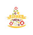 flat colorful pizza slice shape logo with vector image