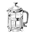 French press tea pot vector image