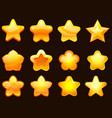 game ui star cartoonic glossy stars shapes shiny vector image