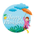 girl with umbrella and raincoat jumping frame vector image