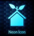 glowing neon eco friendly house icon isolated on vector image vector image