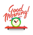 Good Morning Workspace mock up with analog alarm vector image vector image