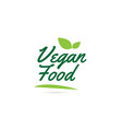 green leaf vegan food hand written word text for vector image vector image