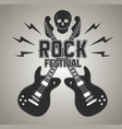 heavy metal or rock poster with guitar and skull vector image vector image