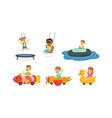 kids having fun in entertainment park set vector image vector image