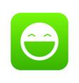 laughing emoticon digital green vector image vector image