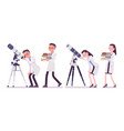 male and female scientist with telescope vector image vector image