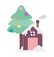 merry christmas celebration gingerbread house and vector image vector image