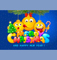 merry christmas greeting with emoji vector image
