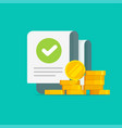 money with checkmark audit document vector image vector image