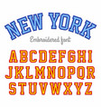 new york embroidered sport style font vector image vector image