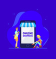 online shopping concept man and woman standing vector image vector image