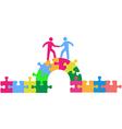 People team up climbing bridge to deal vector image vector image