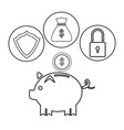 piggy dollar coin security bag money outline vector image vector image