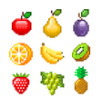pixel fruits for games icons set vector image vector image
