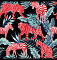 red animal blue jungle vector image vector image