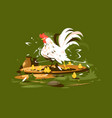 rooster with yellow chickens vector image