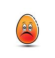 sad egg mascot cartoon vector image vector image