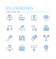 set color line icons plumbing vector image vector image