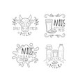 set creative milk labels with lettering vector image vector image