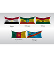 set flags of countries in africa waving flag of vector image vector image
