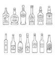 set sketch alcohol drinks bottles vector image vector image