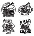 set vintage heavy crane machine typography vector image