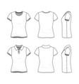 templates female t-shirt and polo shirt vector image vector image