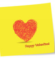 Valentine greetings with heart pencil vector image vector image