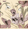 vintage floral seamless pattern with snowdrop and vector image