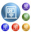 wifi temperature control icons set vector image vector image