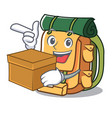 with box backpack character cartoon style vector image