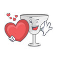 with heart margarita glass mascot cartoon vector image