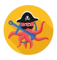 flat icon octopus pirate vector image