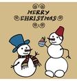 Two snowmen doodles vector image