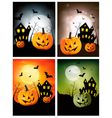four halloween backgrounds with pumpkins vector image
