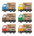 set of delivery cars vector image
