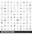 100 fruits icons set outline style vector image