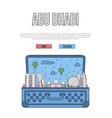 abu dhabi city poster with open suitcase vector image vector image