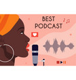 african american woman recording podcast vector image