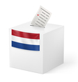 Ballot box with voting paper Netherlands vector image vector image