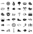 bbq party icons set simple style vector image vector image