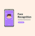 biometric face recognition on smartphone facial vector image